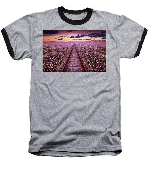 Railway In A Purple Tulip Field Baseball T-Shirt