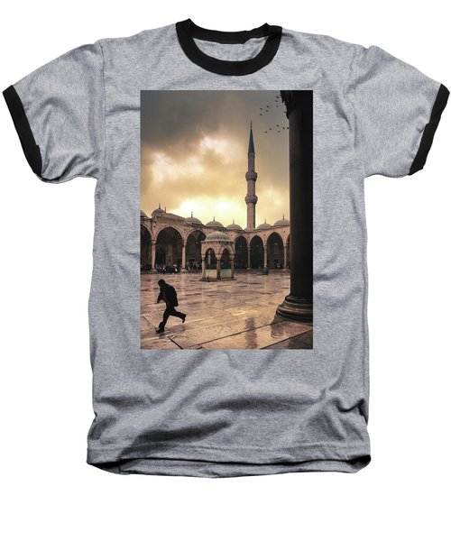 Rain At The Blue Mosque Baseball T-Shirt