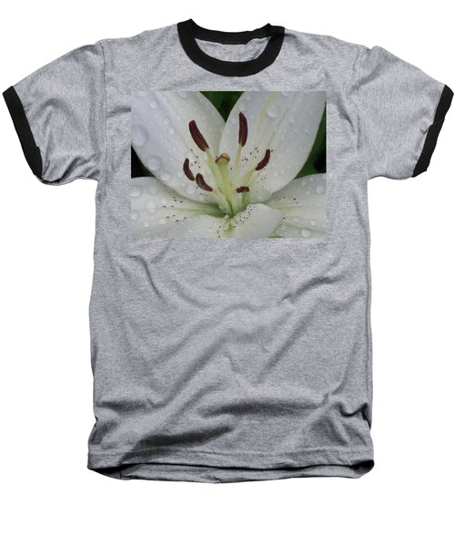 Rain Drops On Lily Baseball T-Shirt