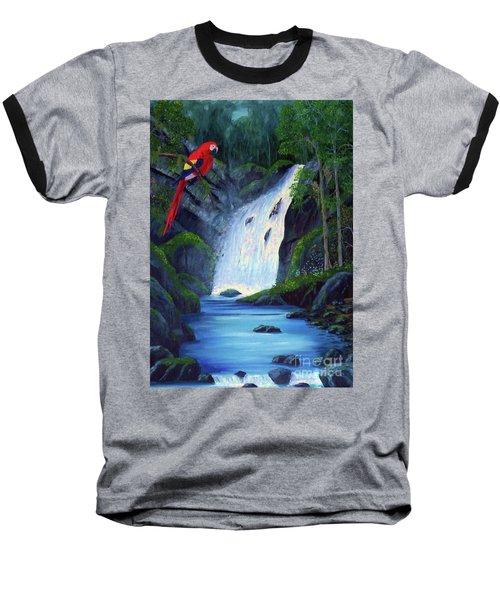 Rain Forest Macaws Baseball T-Shirt by Stanton Allaben