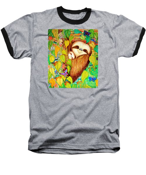 Rain Forest Survival Mother And Baby Three Toed Sloth Baseball T-Shirt by Nick Gustafson