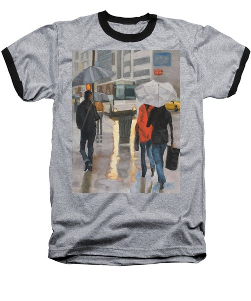 Rain In Midtown Baseball T-Shirt