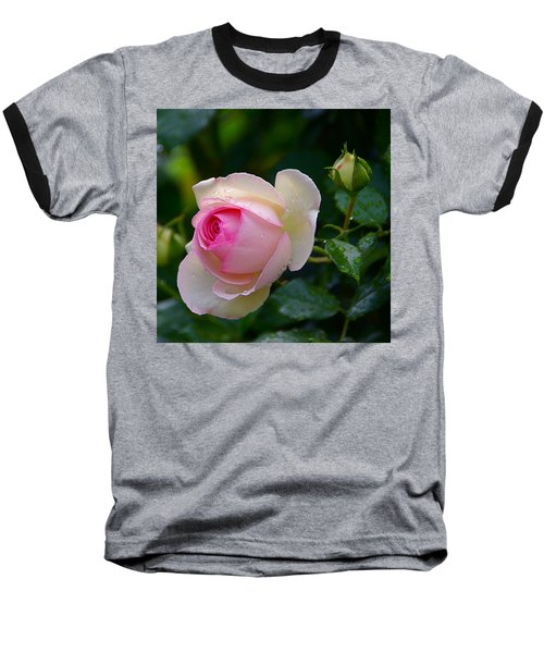 Baseball T-Shirt featuring the photograph Rain-kissed Rose by Byron Varvarigos