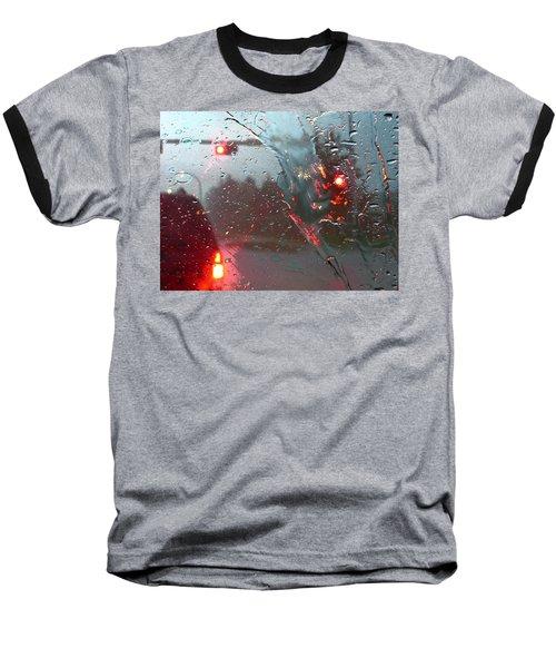 Rain Baseball T-Shirt by Rhonda McDougall