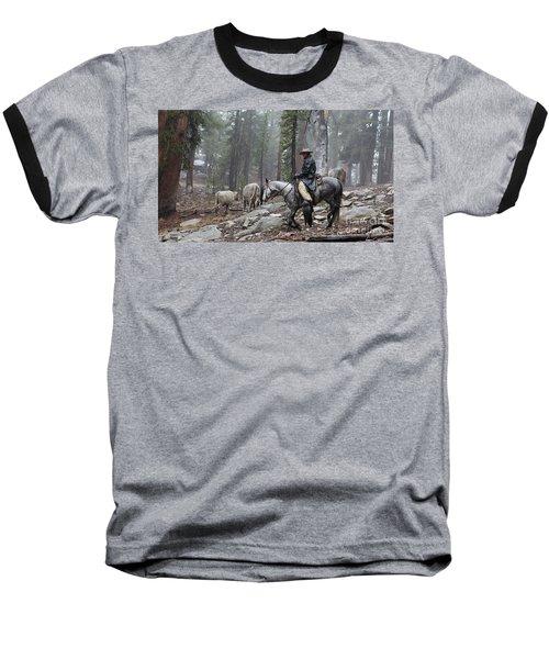 Rain Riding Baseball T-Shirt by Diane Bohna