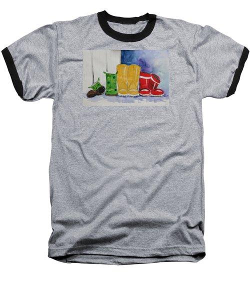Rainboots Baseball T-Shirt by Terri Einer