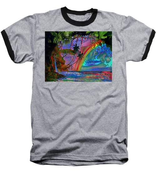 Rainboow Drenched In Layers Baseball T-Shirt by Catherine Lott