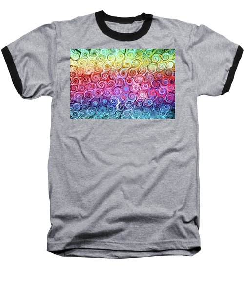 Rainbow Abstract Swirls Baseball T-Shirt
