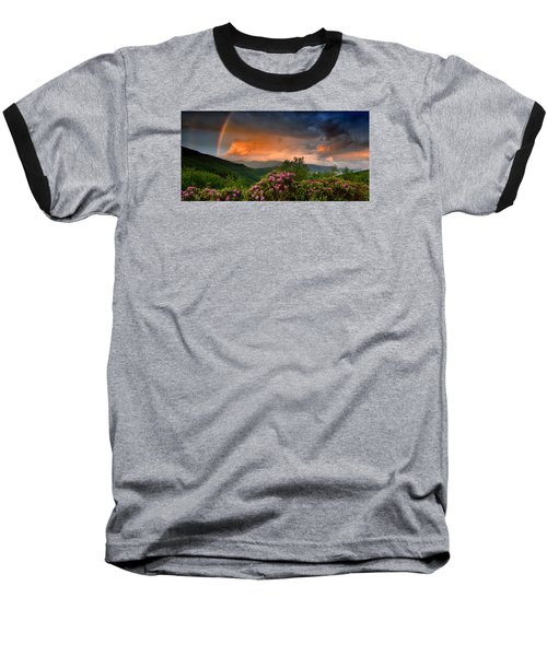 Rainbow And Rhododendrons On The Parkway Baseball T-Shirt