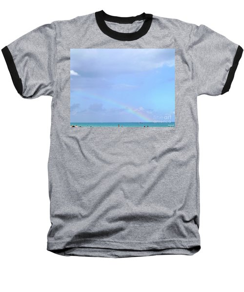 Baseball T-Shirt featuring the digital art Rainbow At The Beach 1 by Francesca Mackenney