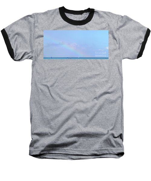 Baseball T-Shirt featuring the digital art Rainbow At The Beach 2 by Francesca Mackenney