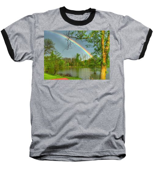 Rainbow At The Lake Baseball T-Shirt by Sumoflam Photography