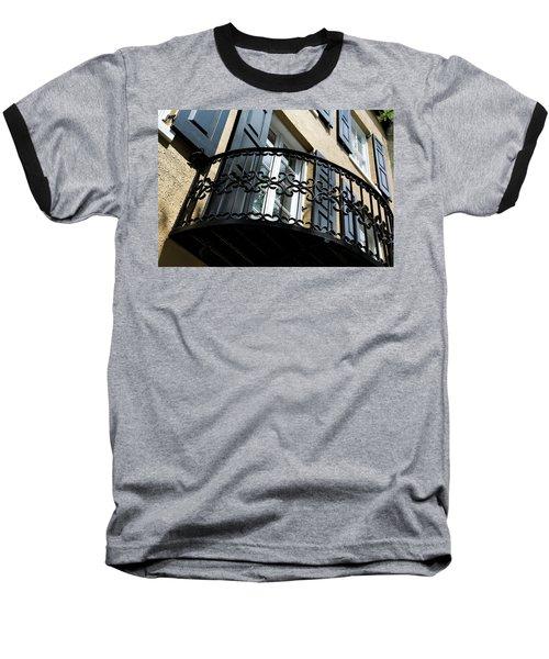Rainbow Balcony Baseball T-Shirt by Ed Waldrop