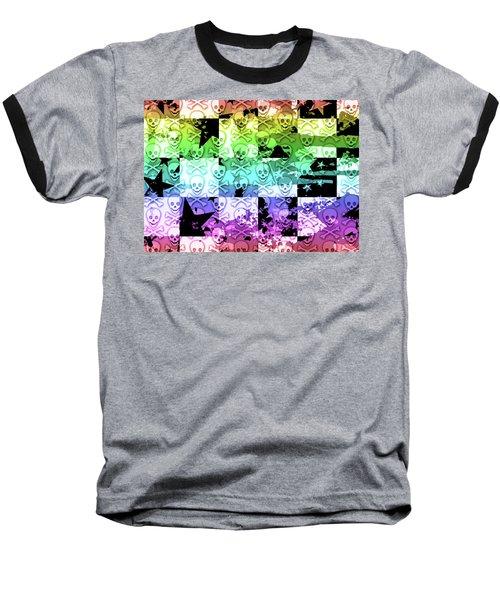 Rainbow Checker Skull Splatter Baseball T-Shirt