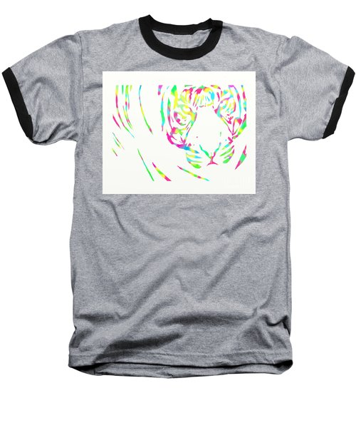 Rainbow Coloured Tiger Baseball T-Shirt