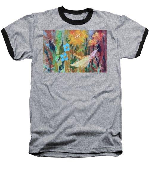 Baseball T-Shirt featuring the painting Rainbow Flight by Robin Maria Pedrero