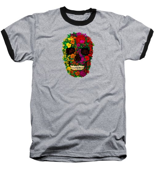 Rainbow Flowers Sugar Skull Baseball T-Shirt