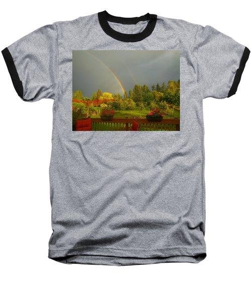Rainbow From The Back Deck Baseball T-Shirt by Karen Molenaar Terrell