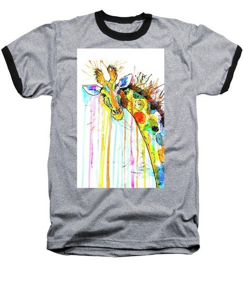 Baseball T-Shirt featuring the painting Rainbow Giraffe by Zaira Dzhaubaeva