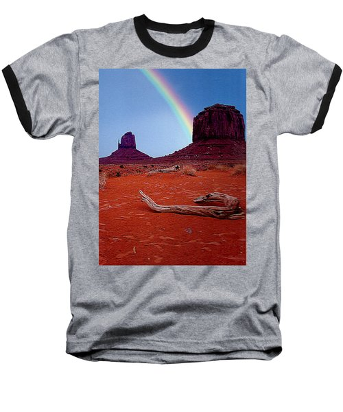 Rainbow In Monument Valley Arizona Baseball T-Shirt by Merton Allen