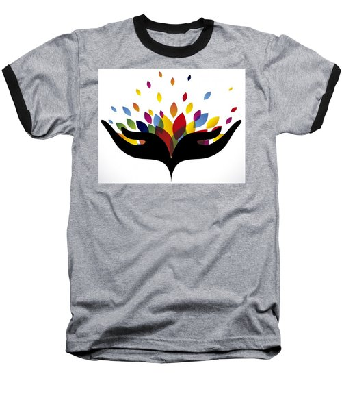 Rainbow Leaves Baseball T-Shirt by Now