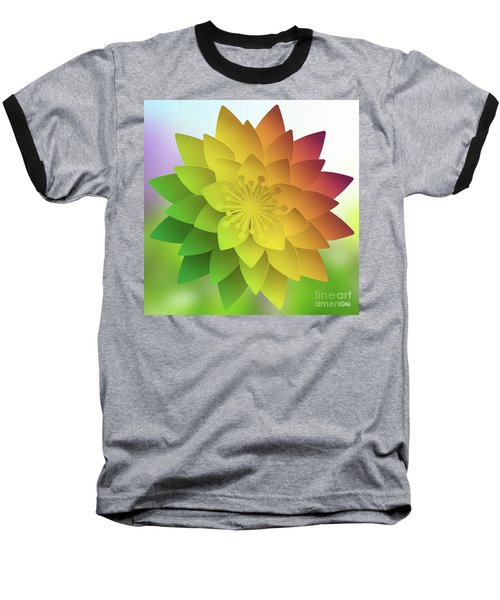Baseball T-Shirt featuring the digital art Rainbow Lotus by Mo T