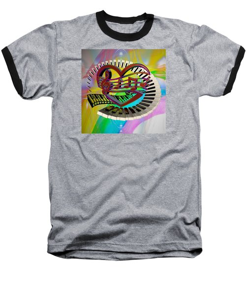 Rainbow Love Of Music  Baseball T-Shirt by Louis Ferreira