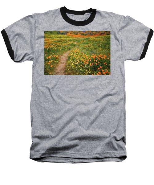 Rainbow Of Wildflowers Bloom Near Diamond Lake In California Baseball T-Shirt