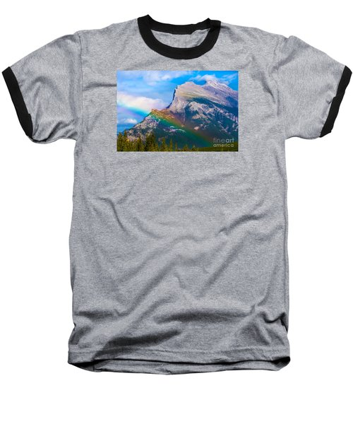 Rainbow On Mt Rundle Baseball T-Shirt