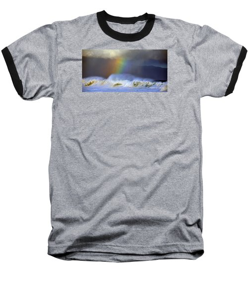 Rainbow On The Banzai Pipeline At The North Shore Of Oahu 2 To 1 Ratio Baseball T-Shirt by Aloha Art