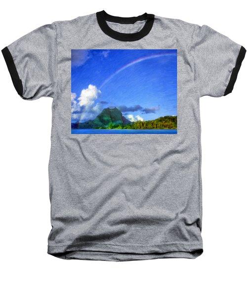 Rainbow Over Bora Bora Baseball T-Shirt