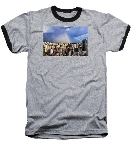 Rainbow Over City Skyline - Sao Paulo Baseball T-Shirt