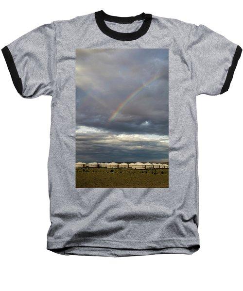 Baseball T-Shirt featuring the photograph Rainbow Over Ger Camp, Gobi, 2016 by Hitendra SINKAR