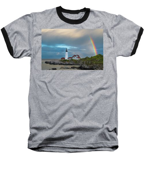 Rainbow Over Portland Head Light Baseball T-Shirt