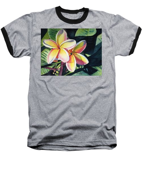 Rainbow Plumeria Baseball T-Shirt