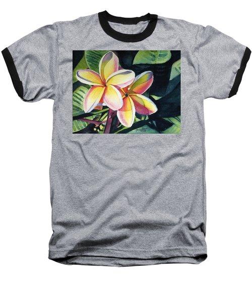 Rainbow Plumeria Baseball T-Shirt