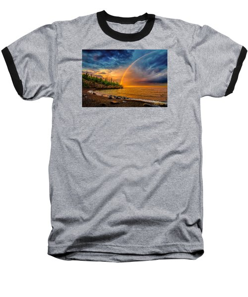 Rainbow Point Baseball T-Shirt by Rikk Flohr