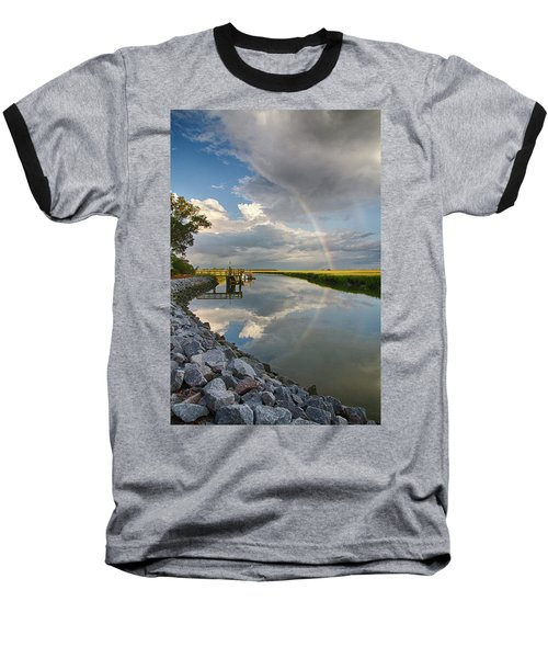 Rainbow Reflection Baseball T-Shirt by Patricia Schaefer