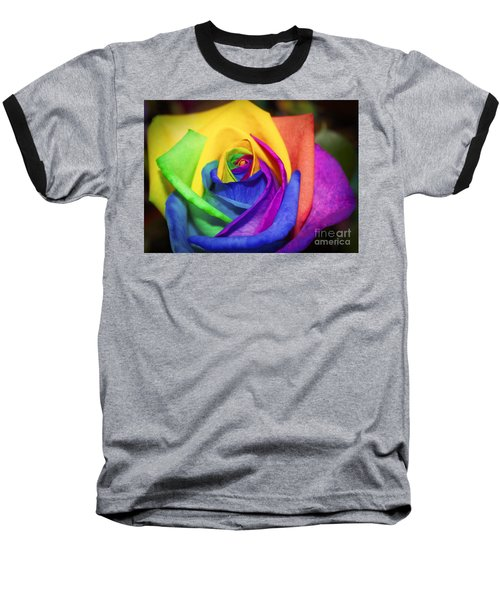 Rainbow Rose In Paint Baseball T-Shirt by Janice Rae Pariza