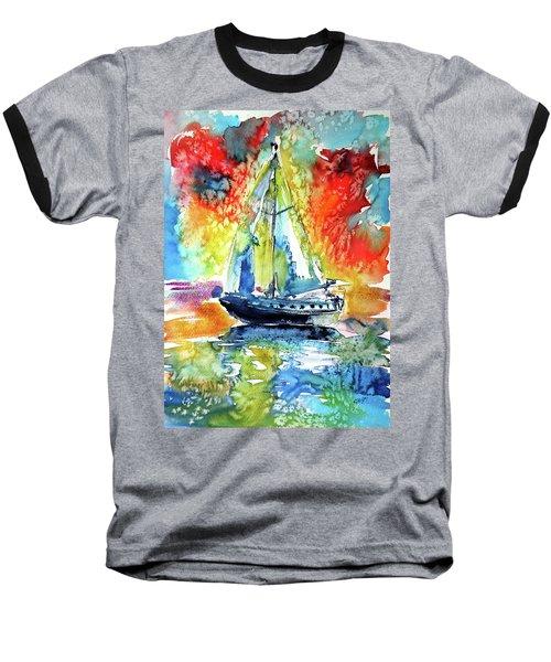 Rainbow Sailboat At Sunset Baseball T-Shirt by Kovacs Anna Brigitta
