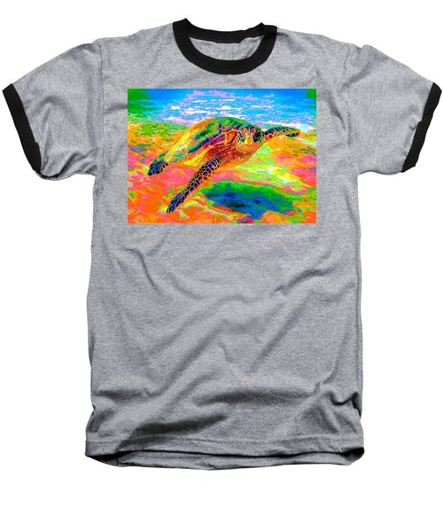 Rainbow Sea Turtle Baseball T-Shirt