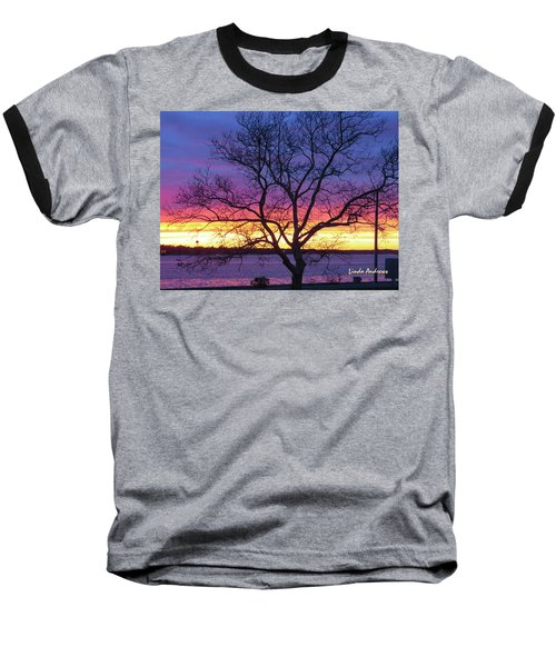 Rainbow Sunset Baseball T-Shirt by Robert Henne