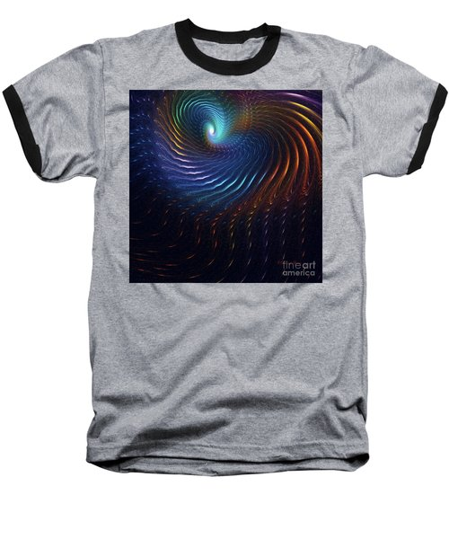 Baseball T-Shirt featuring the digital art Rainbow Swirl by Deborah Benoit