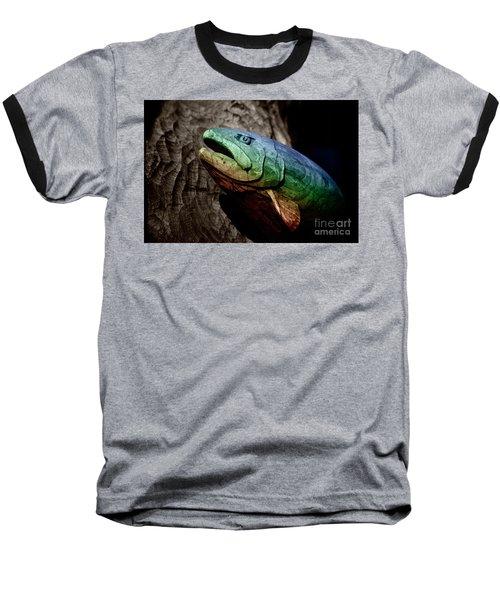 Rainbow Trout Wood Sculpture Baseball T-Shirt by John Stephens