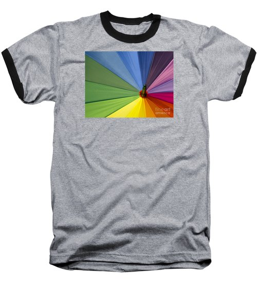 Baseball T-Shirt featuring the photograph Rainbow Umbrella by Inge Riis McDonald