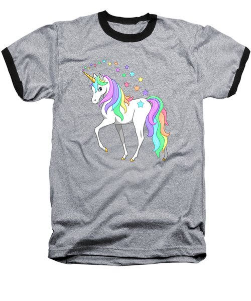 Rainbow Unicorn Clouds And Stars Baseball T-Shirt by Crista Forest