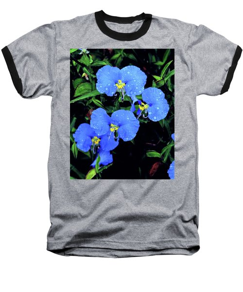Raindrops In Blue Baseball T-Shirt