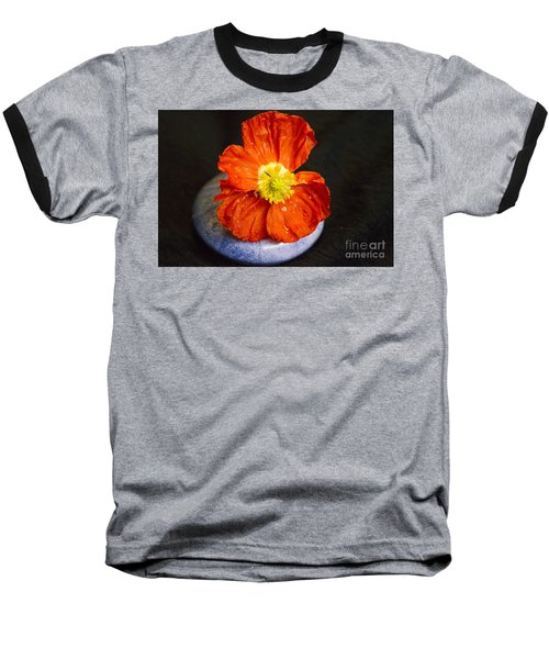 Baseball T-Shirt featuring the photograph Raindrops On Poppy  by Jeanette French