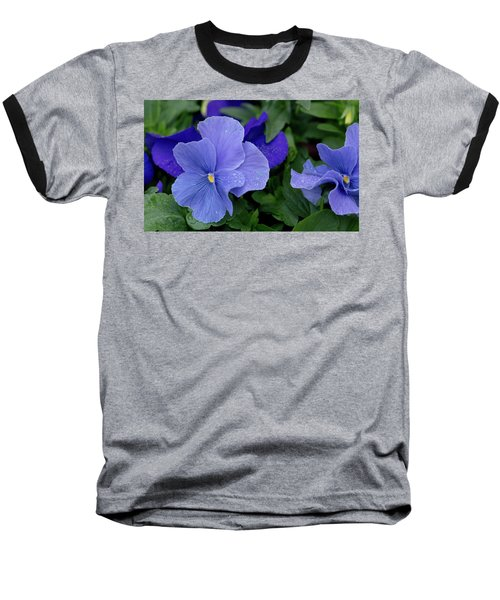 Raindrops On Purple Pansy Baseball T-Shirt