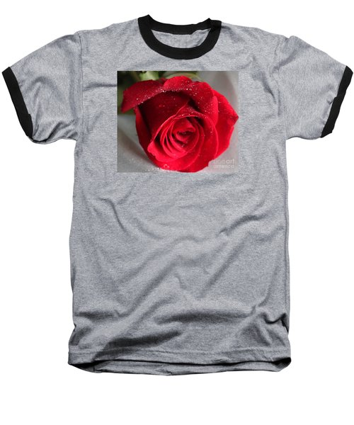 Raindrops On Roses Baseball T-Shirt by Rita Brown